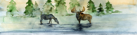 Two Moose – Original Painting