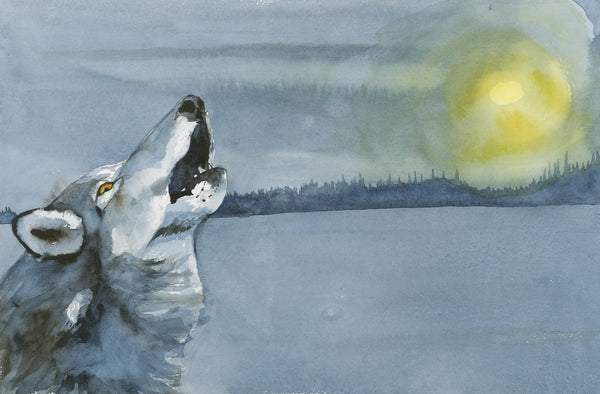 Winter Wolf Howl - Original Painting