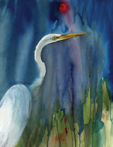 Great Egret Blue - E-card