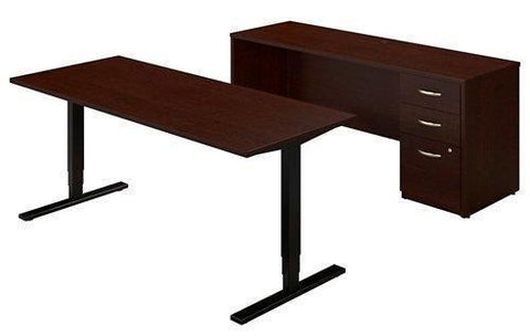 "Bush Sit Stand Desk W/Credenza Desk Dimension: 72""W X 30""D - Three Stage Control Units Provide Height 23"" - 49"" H & Operates At Speed Of 1.5 Inches Per Second - Mocha Cherry"