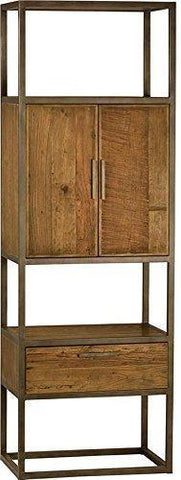 Bookcase Dovetail Warton Light Rustic Black Oak Iron Frame Old Elm Wood