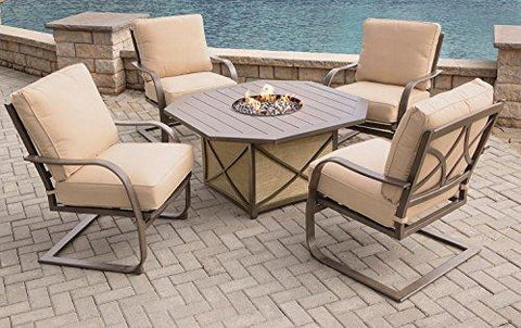 CC Outdoor Living 5-Piece Aluminum Octagonal Smoke Gray Gas Fire Pit Table Set w/Tan Spring Chairs