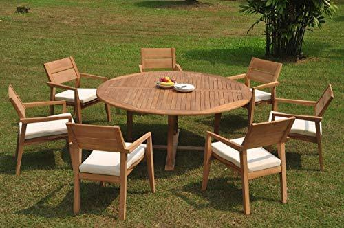 "7 Seats 8 Pcs Grade-A Teak Wood Dining Set: 72"" Round Table And 7 Vellore Stacking Arm Chairs #WHDSVL35"