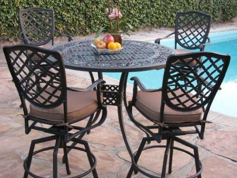 Cast Aluminum Outdoor Patio Furniture 5 Piece Bar Stool Set B with 4 Swivel Bar Stools CBM1290