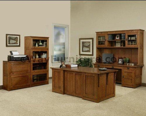 100% Solid Oak Wood Mission Home Office Executive Desk Furniture Made in the USA