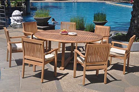 "7 Seats 8 Pcs Grade-A Teak Wood Dining Set: 72"" Round Table And 7 Leveb Stacking Arm Chairs #WHDSLV61"