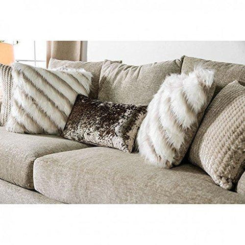 ANTHEA Living Room Furniture 3pc Sofa Set Set Beige Sofa Loveseat Chair Upholstered Cushion Couch Pillows Solid Wood Frame