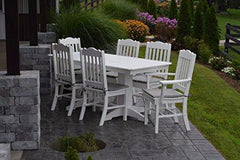 A&L Furniture Amish-Made Poly Outdoor Dining Set: Rectangular Table and 6 Royal Chairs, White