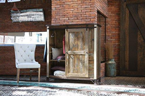 Bayshore Rustic Farmhouse Style Wardrobe Armoire with Antique Finish