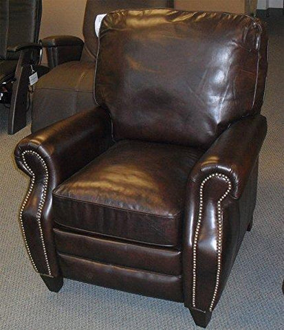Barcalounger Briarwood II Leather Recliner Chair Double Fudge Top Grain Leather Push-Back Lounge Chair with Espresso Wood Legs