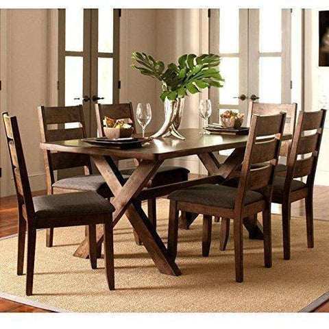A Line Furniture Milano Rustic Knotty Shaped Edge Ladder Back Dining Set 1 Table, 4 Chairs, 1 Bench