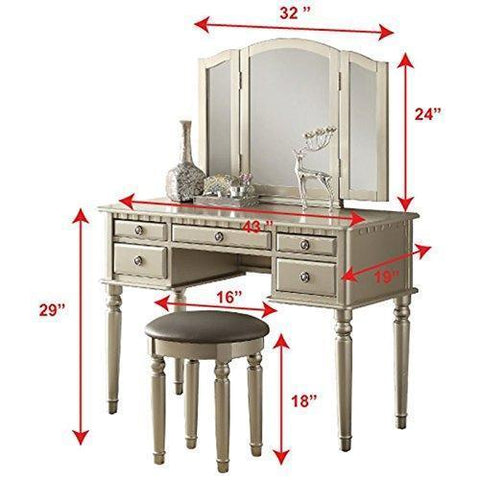 Care 4 Home LLC Accent Makeup Vanity Set, 5 Storage Drawer Table with Folding Mirror and Stool, Functional and Comfortable, Bedroom Furniture, Solid Construction + Expert Guide (Silver)