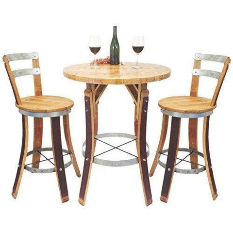 Central Coast Creations Bistro Set Swivel Top Stools - Wine Barrel Handcrafted Wine Barrel Furniture