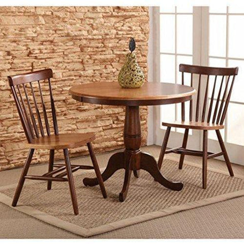 Care 4 Home LLC 3 Piece Wood Dining Bistro Set, Round Table and 2 Chairs, Back Support, Sturdy Construction, Saves Space, Perfect for Restaurant, Kitchen, Espresso Finish + Expert Guide