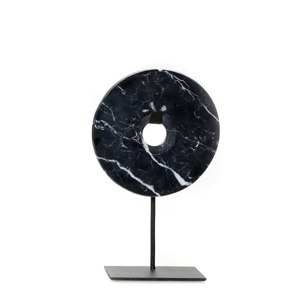 The Marble Disc on Stand zwart