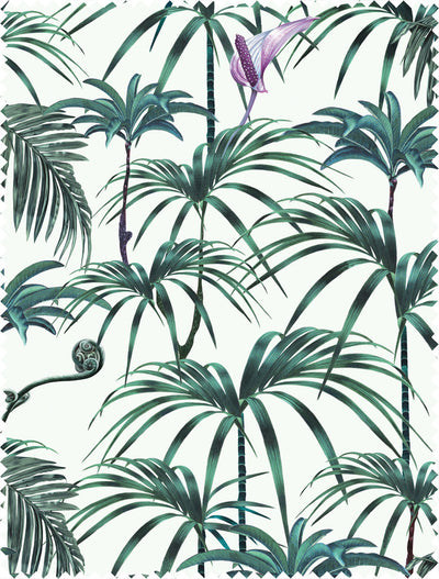Witch and watchman Elysian Palms Green fabric sample