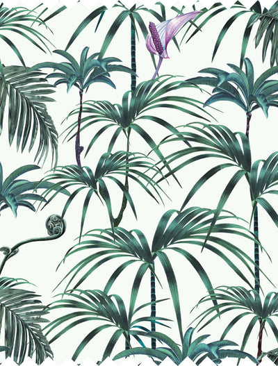 Witch and watchman Elysian Palms green tiki tropical Fabric closeup