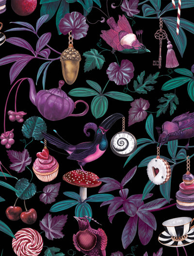 Witch and watchman belladonna dark whimsical bird wallpaper closeup