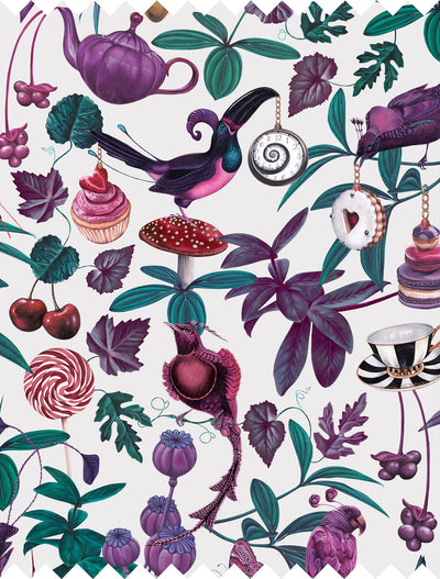 Witch and watchman belladonna light whimsical bird Fabric closeup