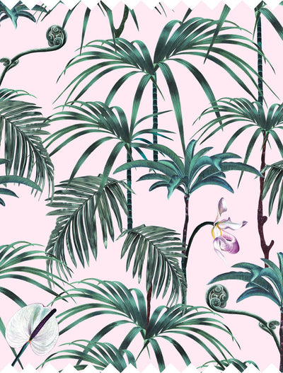 Witch and watchman Elysian Palms pink tiki tropical Fabric closeup