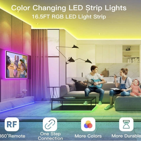Led Tape Light, 16.5ft Stick On LED Room Light & Remote LED Light Strips - Sharp Shifter