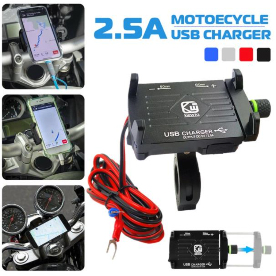 Motorcycle Phone Mount with Charger & Cell Phone Holder for Motorcycle - Sharp Shifter