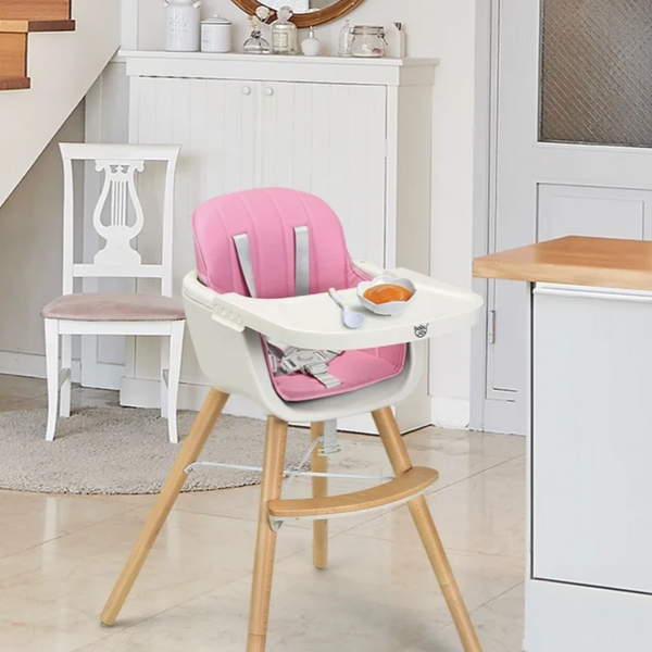 Wooden 3-in-1 Baby High Chair Convertible Ergonomic For Baby & Toddler - Sharp Shifter
