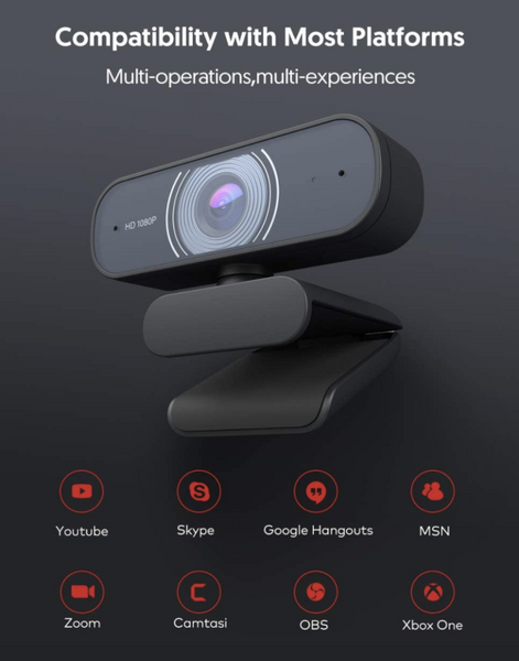Full HD Webcam with Microphone & Live Streaming Camera for PC MAC - Sharp Shifter