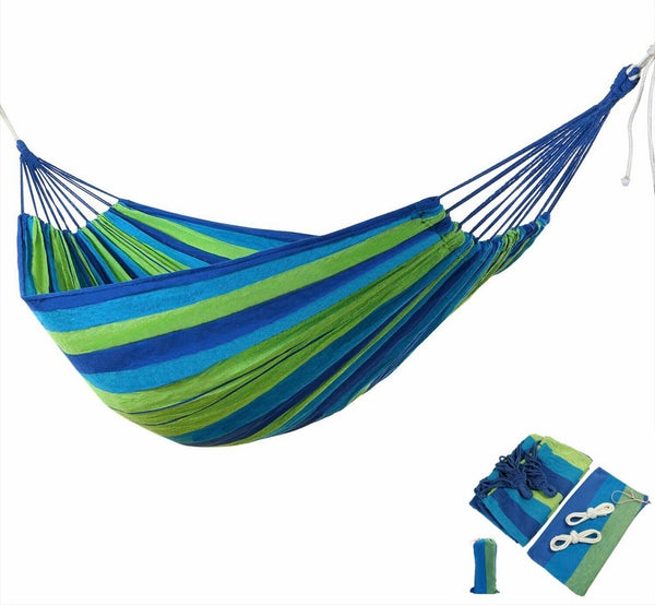 From-A-Far™ Brazilian Double Swing Hammock Bed - Green Deluxe - Sharp Shifter