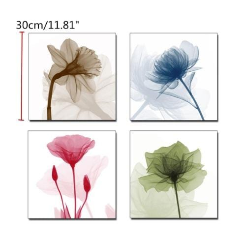 Space For™ Modern Flowers Decorative Framed Wall Art | 4-Pcs Canvas Prints - Sharp Shifter