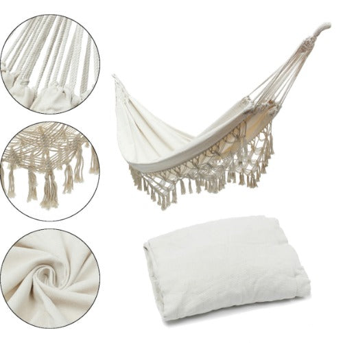 From-A-Far™ Brazilian Deluxe Hammock Bed & Hammock Swing Chair – Beige Cotton - Sharp Shifter