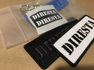 DIRESTA BUNDLE: 2 DIRESTA EMBROIDERED PATCHES,  INJECTION MOLDING BLUE KEYCHAIN,  2 DIRESTA STICKERS