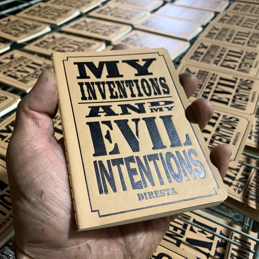 """MY INVENTIONS AND EVIL INTENTIONS"" DIRESTA LETTERPRESS NOTEPAD PLUS 2 PENCILS"
