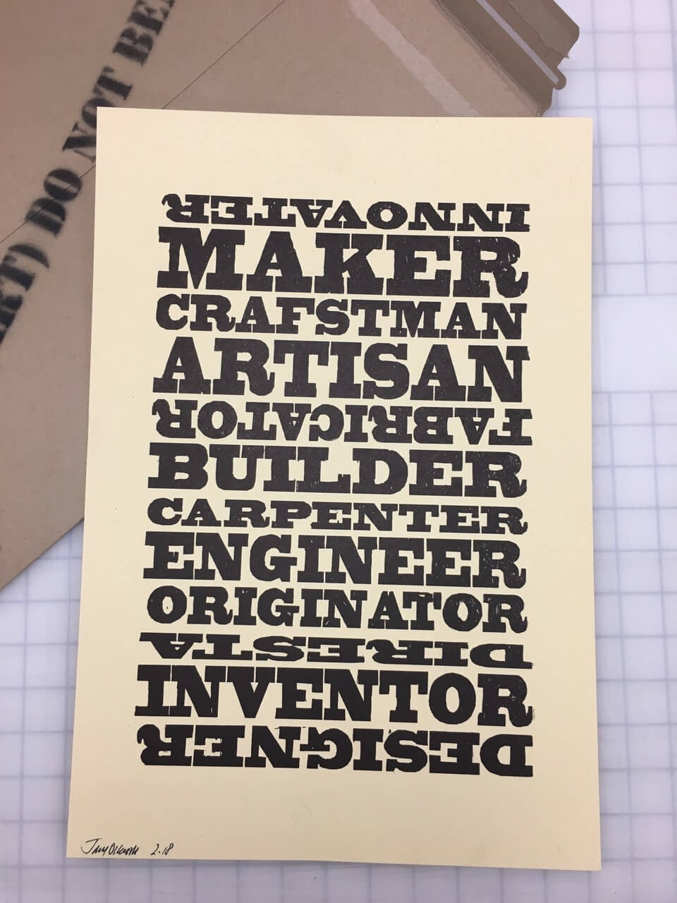 """INNOVATeR"" LIMITED EDITION DIRESTA LETTERPRESS"