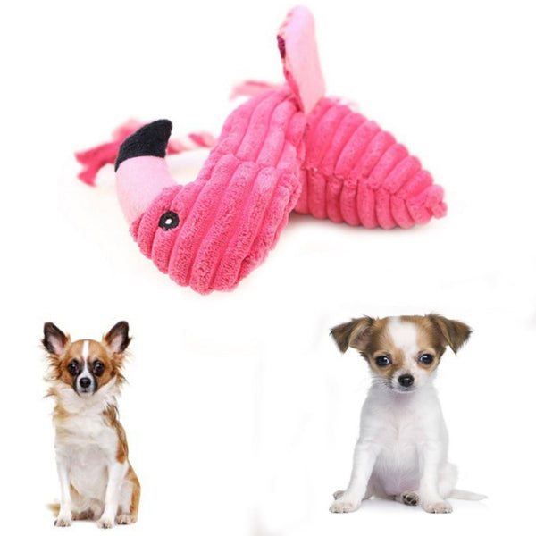 Pet Bite Chew Toys Plush Sound Dog Toy Flamingo Dog Supplies