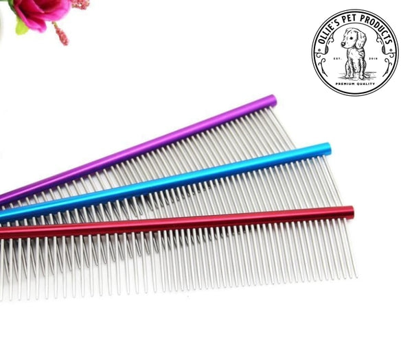 16Cm High Quality Pet Comb Professional Steel Grooming Cleaning Hair Trimmer Brush Purple