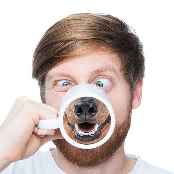 HOT Funny Dog Pig Nose Mug Cup Creative Ceramic Mark Beverage Laugh Tea Coffee Cups