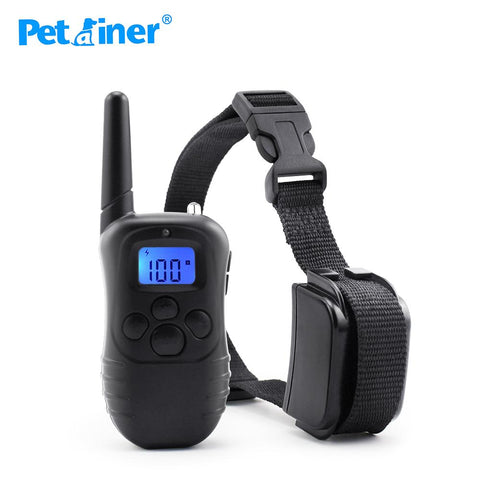 Petrainer 998DR-1 300M Remote Electric Shock Vibration Rechargeable Rainproof Pet Dog Training Collar With LCD Display