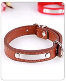 Leather Engraved Dog Collar Custom Puppy Cat Pet Collars ID