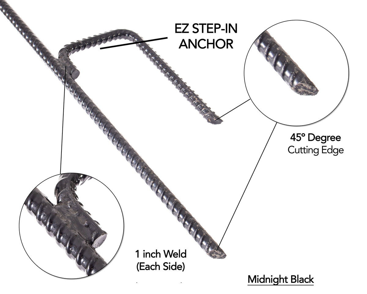 This photo provides technical details of the anchor portion of an EZ Step-In Post, which is Solidly Anchored and Won't Tip Over
