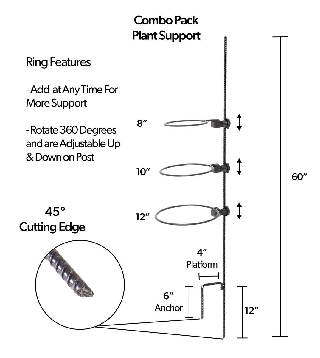 This photo provides technical details of an EZ Step Prodycts' Combo Pack, complete with an EZ Step-In Post and three EZ Rings.