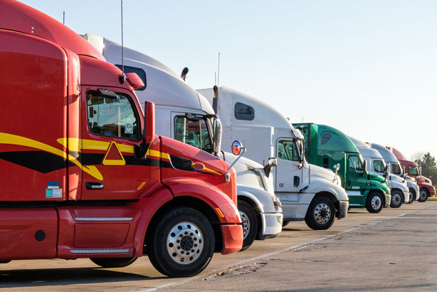 A row of parked semi tractors, symbolizing wholesale purchases.