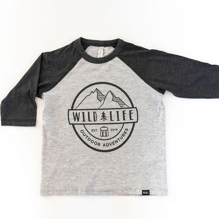 "Adult Wild | Life ""Team Spirit"" Baseball Tri-blend Baseball Shirt Grey"