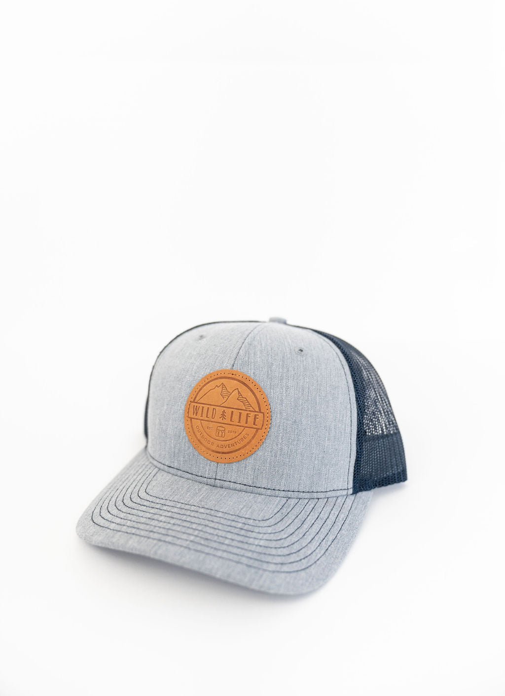 "The Wild | Life ""Sunny Days"" Leather Crest Logo Ball Cap Navy/Grey"