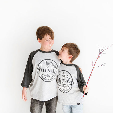 "Kids Wild | Life ""Team Spirit"" Tri-Blend Baseball Shirt Grey"