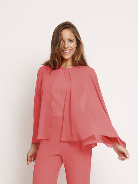 Blusa transparente color coral