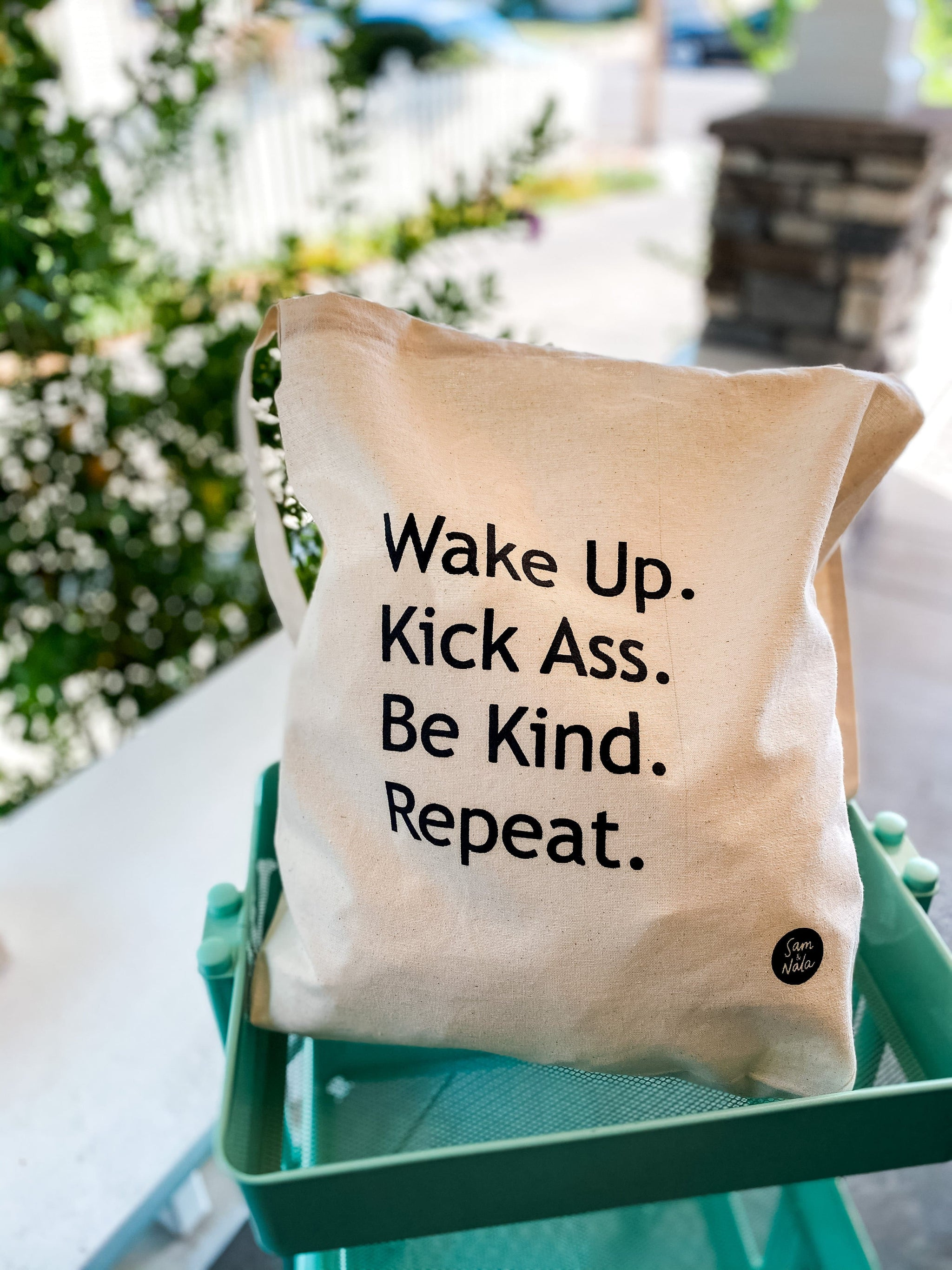 Recycled Canvas Bag - Wake Up. Kick Ass. Be Kind. Repeat