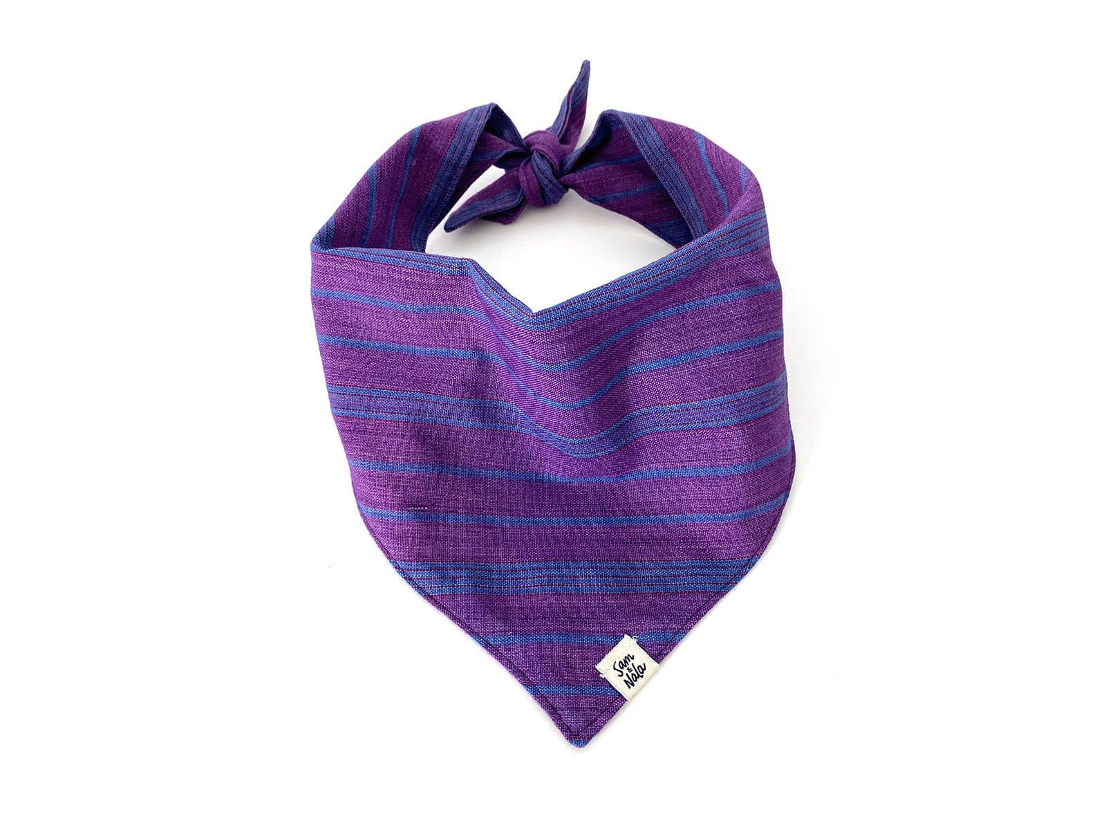 Purple & Navy Striped Dog Bandana