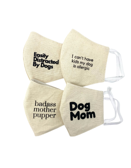 """Dog Mom"" Cotton Face Mask"