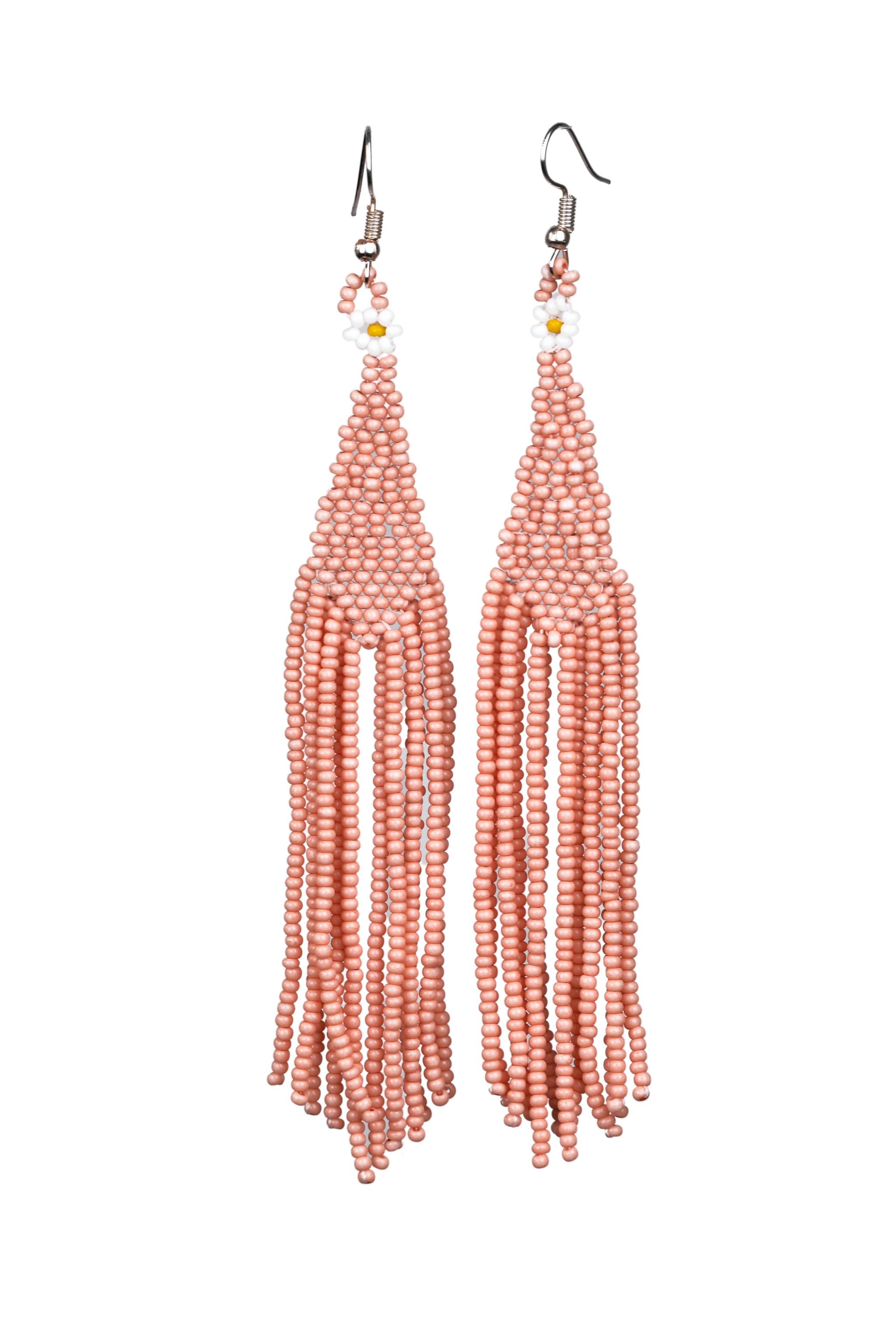 Beaded Earrings - Rose